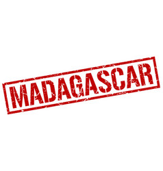 Madagascar red square stamp vector
