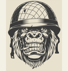 Monkey soldier with a cigarette vector