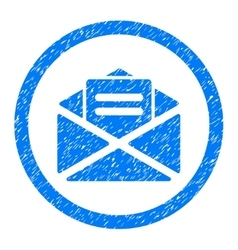 Open mail rounded icon rubber stamp vector