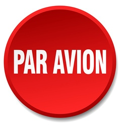 Par avion red round flat isolated push button vector