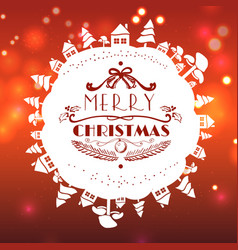 red christmas card with lettering vector image vector image