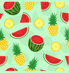 seamless pattern with tropical fruits pineapple vector image