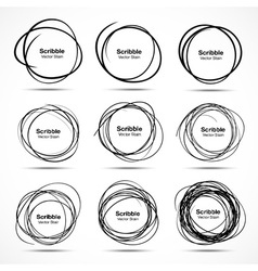 Set of 9 Hand Drawn Scribble Circles design elemen vector image vector image