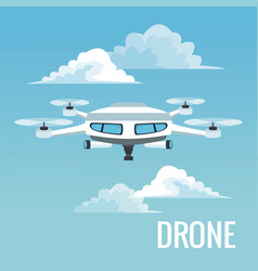 Sky landscape background white modern robot drone vector