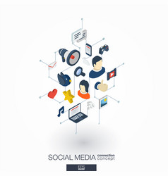 social media integrated 3d web icons digital vector image vector image