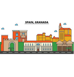 spain granada city skyline architecture vector image vector image