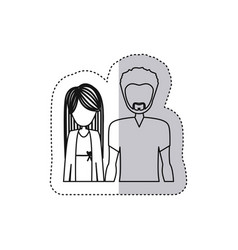 sticker monochrome contour half body with man with vector image