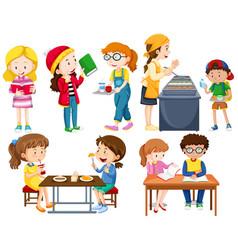 Students doing different activities vector