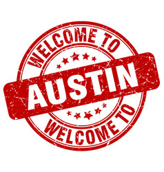 Welcome to austin red round vintage stamp vector