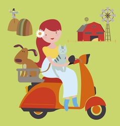 Young girl with pets riding scooter vector