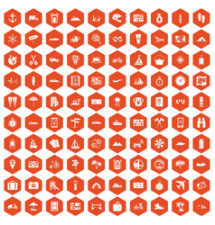 100 travel icons hexagon orange vector image vector image