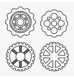 Gear white cog machine part set design vector