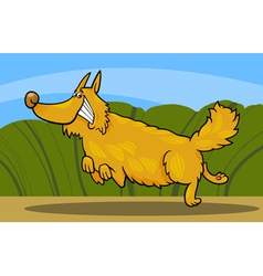 Cartoon happy shaggy playful dog vector