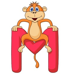 Alphabet m with monkey cartoon vector