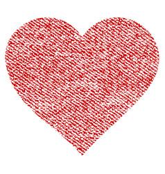 valentine heart fabric textured icon vector image