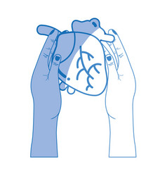 Silhouette heart organ to blood circulation in the vector