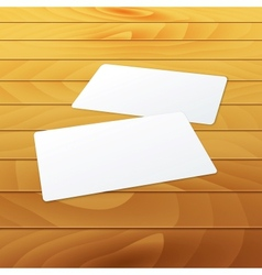 Business cards blank mockup template on wood vector image