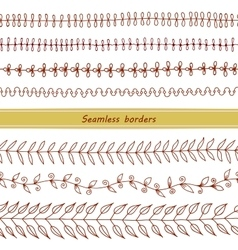 Set of seamless hand drawn borders vector