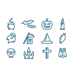 Line art icons set for halloween vector
