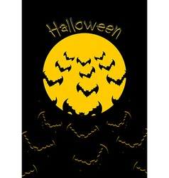 Halloween bats and moon bunch of scary animals vector