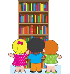 Bookcase kids vector
