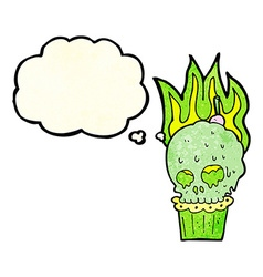 Cartoon spooky skull cupcake with thought bubble vector