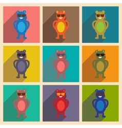 Concept flat icons with long shadow bear cartoon vector image