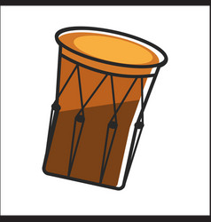Aboriginal drum in brown color closeup graphic vector