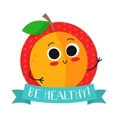 Apricot cute fruit character badge vector image vector image
