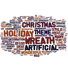 Artificial christmas wreath text background word vector