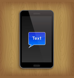 blue text bubble in phone vector image