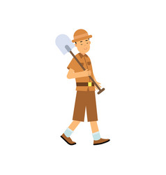 Boy archaeologist character walking with shovel vector