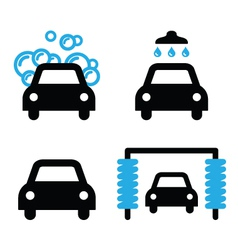 Car wash icons black and blue set - vector image
