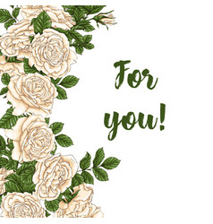 card with garden white and red roses and vector image