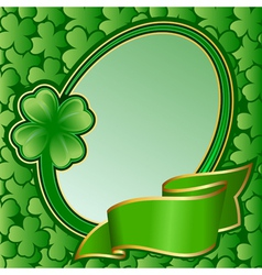 circle frame with ribbon on st patricks day vector image vector image