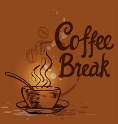 coffee background with cup vector image vector image