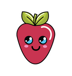 color kawaii happy strawberry icon vector image vector image