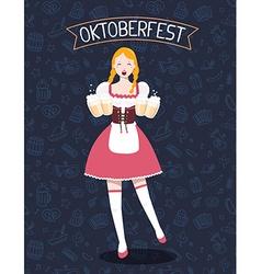 colorful of german full length girl waitress vector image
