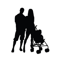 couple wth baby silhouette vector image