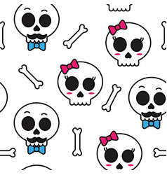 Cute sugar skull boy and girl seamless pattern vector