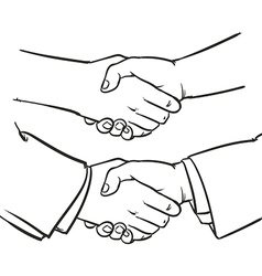 Drawing handshake outline hand clip art vector