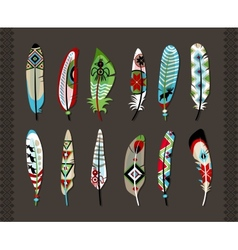 Feathers painted with colorful ethnic pattern vector image vector image