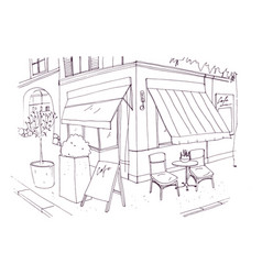 freehand drawing of european sidewalk cafe or vector image