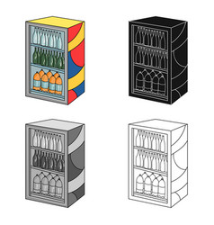 Fridge with drinks icon in cartoon style isolated vector
