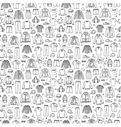 hand drawn seamless pattern mens clothing vector image vector image
