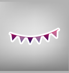 Holiday flags garlands sign purple vector