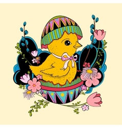 little chicken sitting in Easter vector image