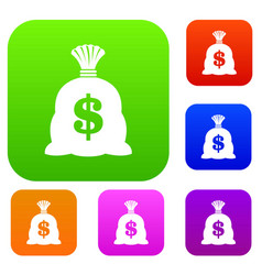 money bag with us dollar sign set collection vector image vector image