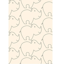 One line rhino seamless pattern vector