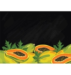 Papaya fruit composition on chalkboard vector